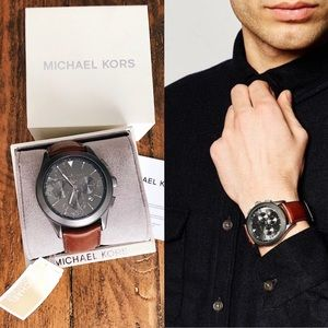 ✨New MICHAEL KORS Gareth Chronograph Leather Watch